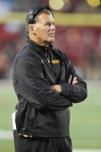Head coach Randy Edsall of the Maryland Terrapins looks on during a college football game against the Virginia Cavaliers on October 12 2013 at...