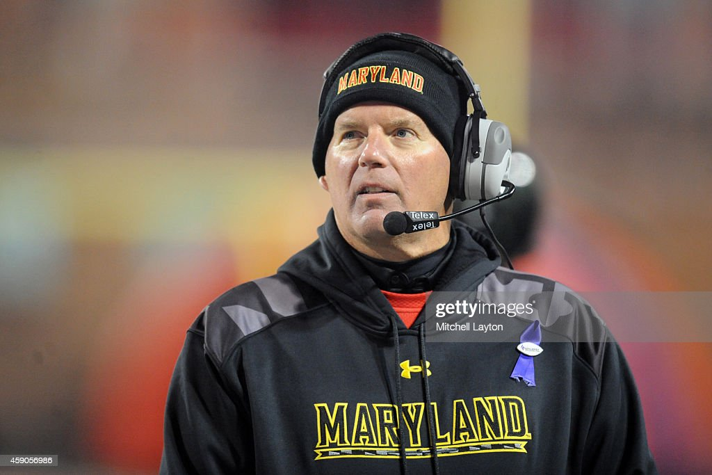 Head coach Randy Edsall of the Maryland Terrapins looks on during a college football game against the Michigan State Spartans at Byrd Stadium on...