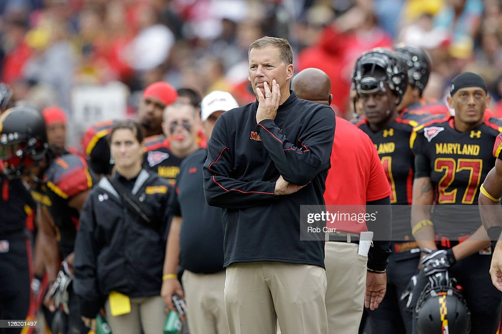 Head coach Randy Edsall of the Maryland Terrapins looks on from the sidelines during the first half against the West Virginia Mountaineers at Byrd...