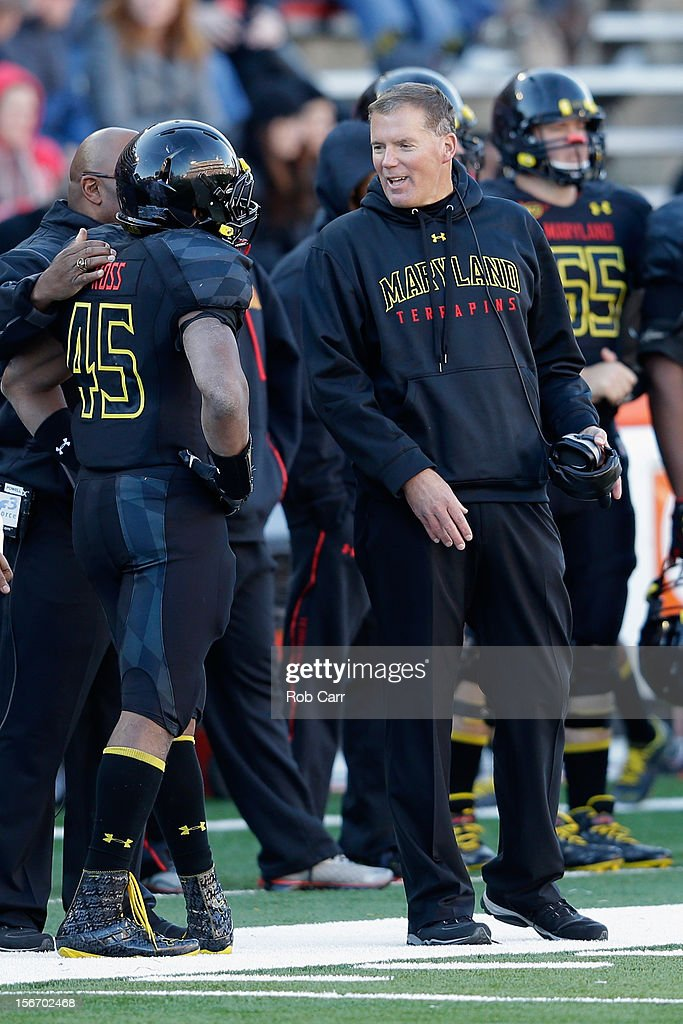 Head coach Randy Edsall of the Maryland Terrapins looks on from the sidelines during the second half of the Terrapins 41-14 loss to the Florida State Seminoles at Byrd Stadium on November 17, 2012 in College Park, Maryland.
