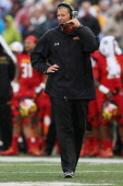 Head coach Randy Edsall of the Maryland Terrapins looks on from the sidelines during the first half of their 370 win over the West Virginia...