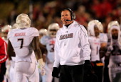 Head coach Randy Edsall of the Maryland Terrapins looks on from the sidelines during the second half of the the 2013 Military Bowl against the...