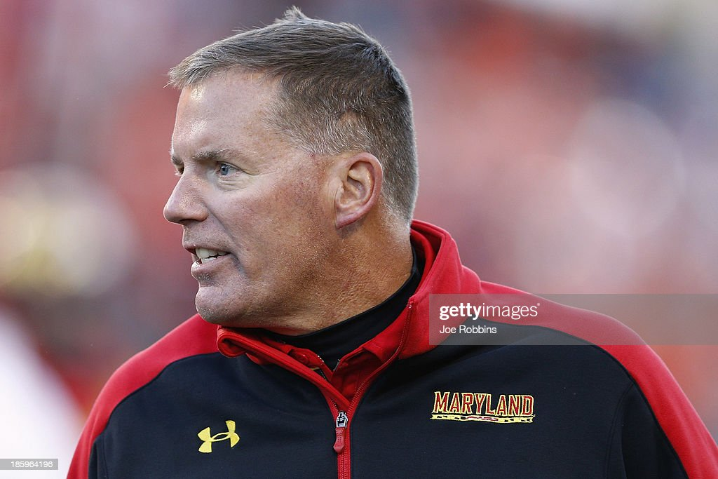 Head coach Randy Edsall of the Maryland Terrapins reacts during the game against the Clemson Tigers at Byrd Stadium on October 26 2013 in College...