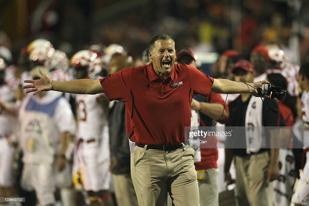 Head coach <a gi-track='captionPersonalityLinkClicked' href=/galleries/search?phrase=Randy+Edsall&family=editorial&specificpeople=2160091 ng-click='$event.stopPropagation()'>Randy Edsall</a> of the Maryland Terrapins reacts to a call against the Miami Hurricanes during the first half at Byrd Stadium on September 5, 2011 in College Park, Maryland.
