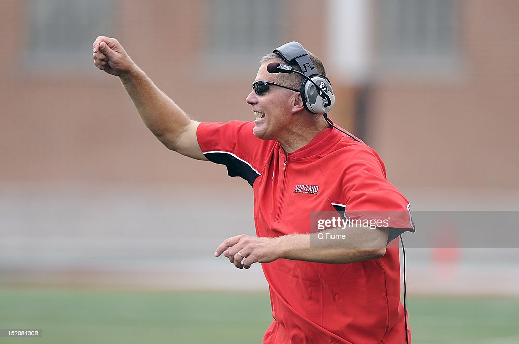 Head coach <a gi-track='captionPersonalityLinkClicked' href=/galleries/search?phrase=Randy+Edsall&family=editorial&specificpeople=2160091 ng-click='$event.stopPropagation()'>Randy Edsall</a> of the Maryland Terrapins reacts to a call during the game against the William & Mary Tribe at Byrd Stadium on September 1, 2012 in College Park, Maryland.