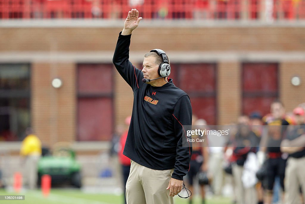 Head coach <a gi-track='captionPersonalityLinkClicked' href=/galleries/search?phrase=Randy+Edsall&family=editorial&specificpeople=2160091 ng-click='$event.stopPropagation()'>Randy Edsall</a> of the Maryland Terrapins reacts to an officials call during the first half against the West Virginia Mountaineers at Byrd Stadium on September 17, 2011 in College Park, Maryland.