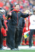 Head coach Randy Edsall of the Maryland Terrapins reacts to call during a college football game against the Clemson Tigers on October 26 2013 at...