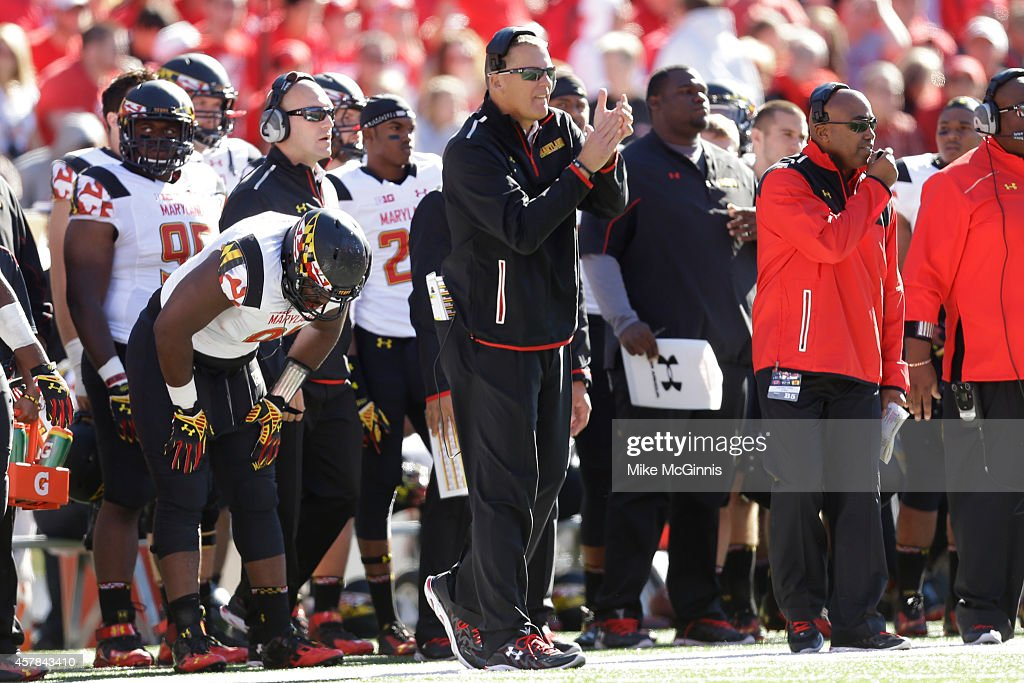 Head Coach <a gi-track='captionPersonalityLinkClicked' href=/galleries/search?phrase=Randy+Edsall&family=editorial&specificpeople=2160091 ng-click='$event.stopPropagation()'>Randy Edsall</a> of the Maryland Terrapins stands on the sidelines during the second quarter against the Wisconsin Badgers at Camp Randall Stadium on October 25, 2014 in Madison, Wisconsin.
