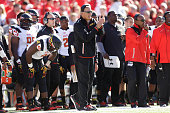 Head Coach Randy Edsall of the Maryland Terrapins stands on the sidelines during the second quarter against the Wisconsin Badgers at Camp Randall...