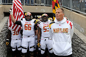 Head coach Randy Edsall of the Maryland Terrapins waits to lead his team onto the field before the game against the Penn State Nittany Lions at...