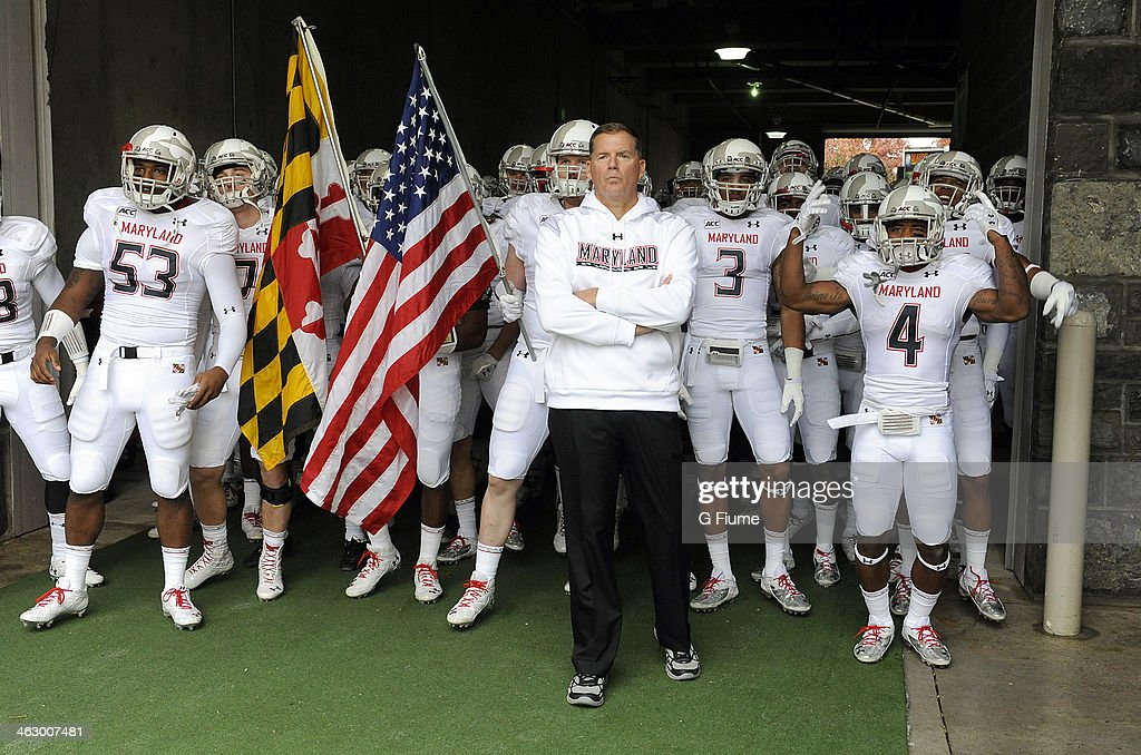 Head coach Randy Edsall of the Maryland Terrapins waits to lead his team onto the field before the game against the Virginia Tech Hokies at Lane...
