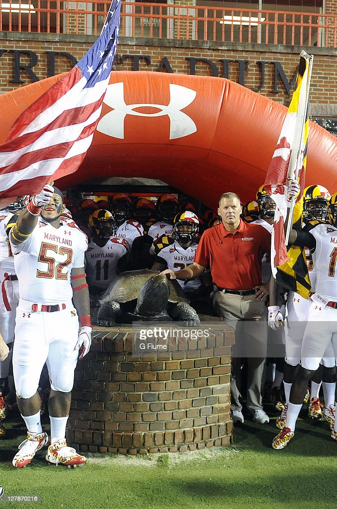 Head coach Randy Edsall of the Maryland Terrapins waits to run on the field before the game against the Miami Hurricanes at Byrd Stadium on September...