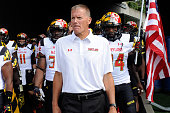 Head coach Randy Edsall of the Maryland Terrapins waits to run out of the tunnel with the team before the game against the West Virginia Mountaineers...