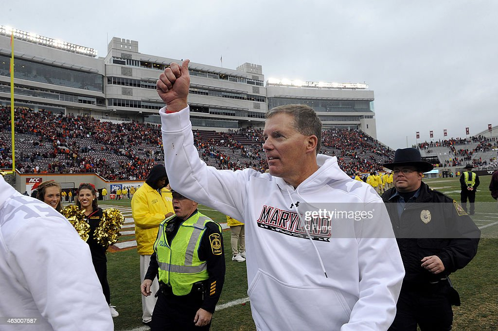 Head coach Randy Edsall of the Maryland Terrapins walks off the field after a victory against the Virginia Tech Hokies at Lane Stadium on November 16...