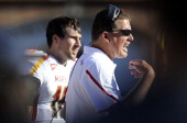 Head coach Randy Edsall of the Maryland Terrapins watches the game against the Florida State Seminoles at Doak Campbell Stadium on October 22 2011 in...