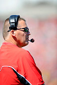 Head coach Randy Edsall of the Maryland Terrapins watches the game against the Connecticut Huskies at Byrd Stadium on September 15 2012 in College...