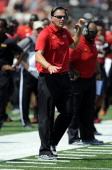 Head coach Randy Edsall of the Maryland Terrapins watches the game against the Florida International Golden Panthers at Byrd Stadium on August 31...