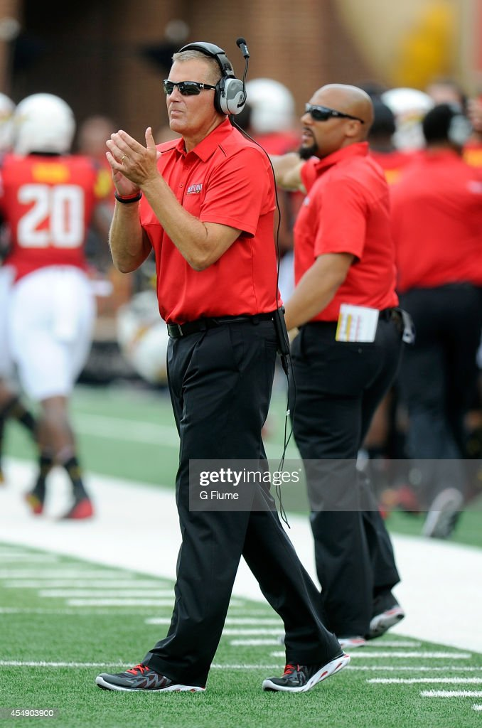 Head coach Randy Edsall of the Maryland Terrapins watches the game against the James Madison Dukes at Byrd Stadium on August 30 2014 in College Park...