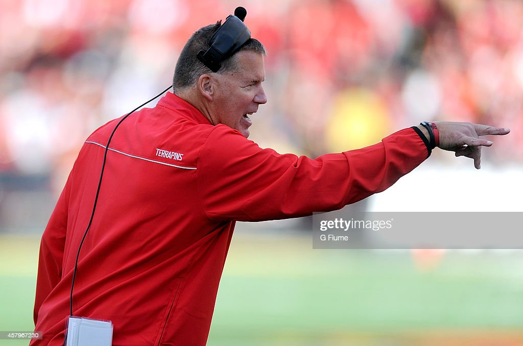 Head coach Randy Edsall of the Maryland Terrapins watches the game against the Iowa Hawkeyes at Byrd Stadium on October 18 2014 in College Park...