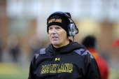 Head coach Randy Edsall of the Maryland Terrapins watches the game against the Boston College Eagles at Byrd Stadium on November 23 2013 in College...