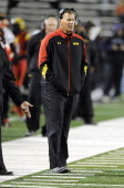 Head coach Randy Edsall of the Maryland Terrapins watches the game against the Clemson Tigers at Byrd Stadium on October 26 2013 in College Park...