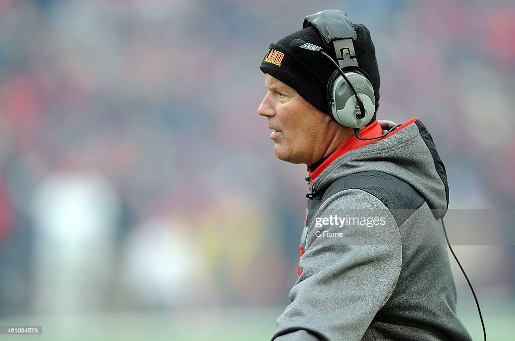 Head coach Randy Edsall of the Maryland Terrapins watches the game against the Rutgers Scarlet Knights at Byrd Stadium on November 29 2014 in College...
