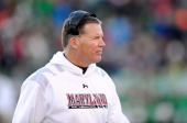 Head coach Randy Edsall of the Maryland Terrapins watches the game against the Marshall Herd during the 2013 Military Bowl at NavyMarine Corps...