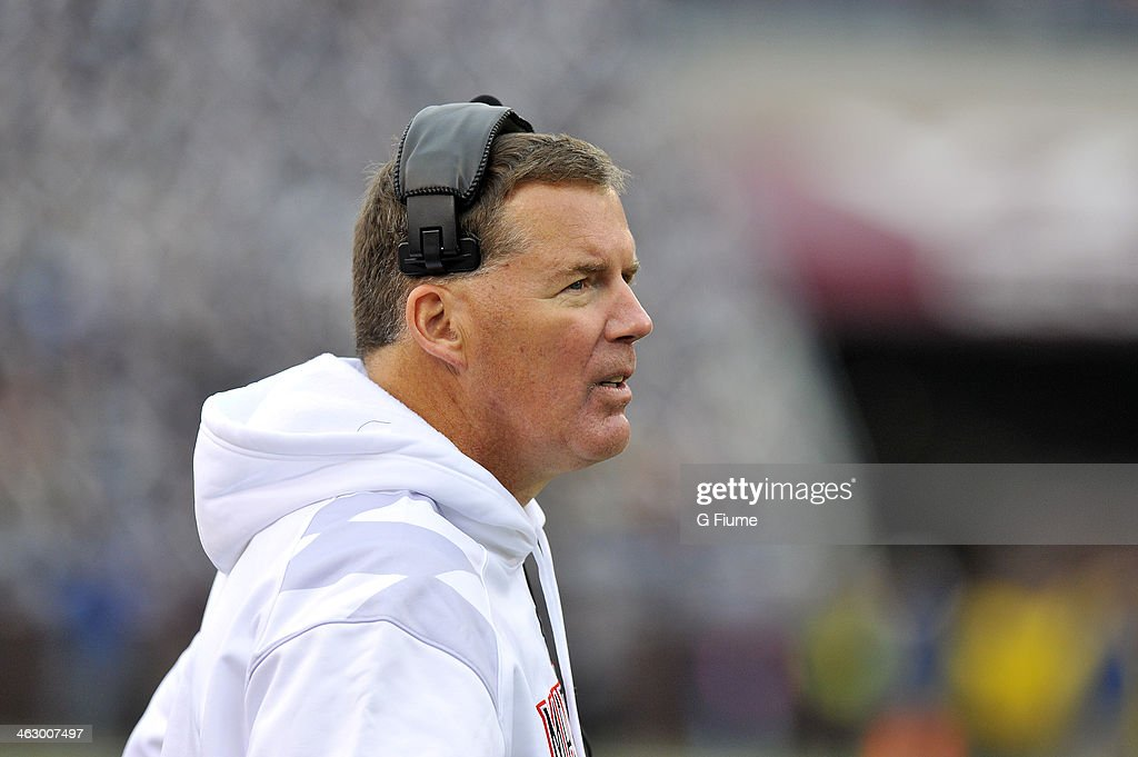 Head coach Randy Edsall of the Maryland Terrapins watches the game against the Virginia Tech Hokies at Lane Stadium on November 16 2013 in Blacksburg...