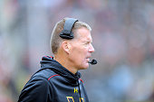 Head coach Randy Edsall of the Maryland Terrapins watches the game against the Michigan Wolverines at Byrd Stadium on October 3 2015 in College Park...
