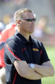 Head coach Randy Edsall of the Maryland Terrapins watches the spring football game at Byrd Stadium on April 30 2011 in College Park Maryland
