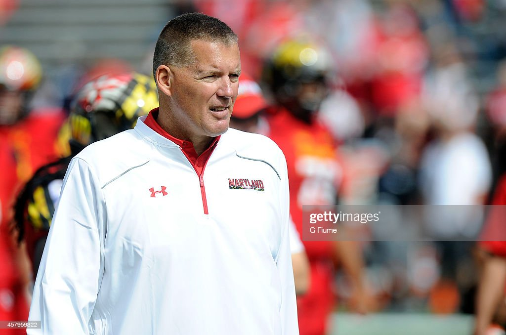 Head coach Randy Edsall of the Maryland Terrapins watches the teams warm up before the game against the Ohio State Buckeyes at Byrd Stadium on...