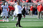 Head coach Randy Edsall of the Maryland Terrapins watches the teams warm up before the game against the Ohio State Buckeyes at Ohio Stadium on...