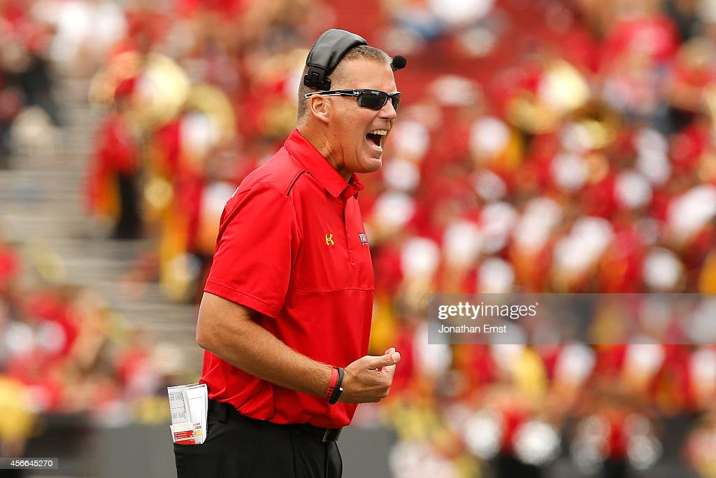Head coach <a gi-track='captionPersonalityLinkClicked' href=/galleries/search?phrase=Randy+Edsall&family=editorial&specificpeople=2160091 ng-click='$event.stopPropagation()'>Randy Edsall</a> of the Maryland Terrapins yells to his players during the second half of their 52-24 loss to the Ohio State Buckeyes at Byrd Stadium on October 4, 2014 in College Park, Maryland.