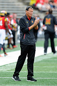 Head coach Randy Edsall watches the game against the Bowling Green Falcons at Byrd Stadium on September 12 2015 in College Park Maryland