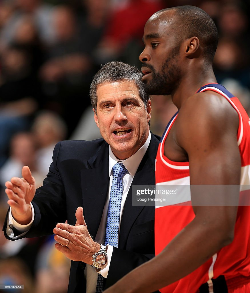 Head coach Randy Wittman directs Emeka Okafor #50 of the Washington Wizards against the Denver Nuggets at the Pepsi Center on January 18, 2013 in Denver, Colorado.