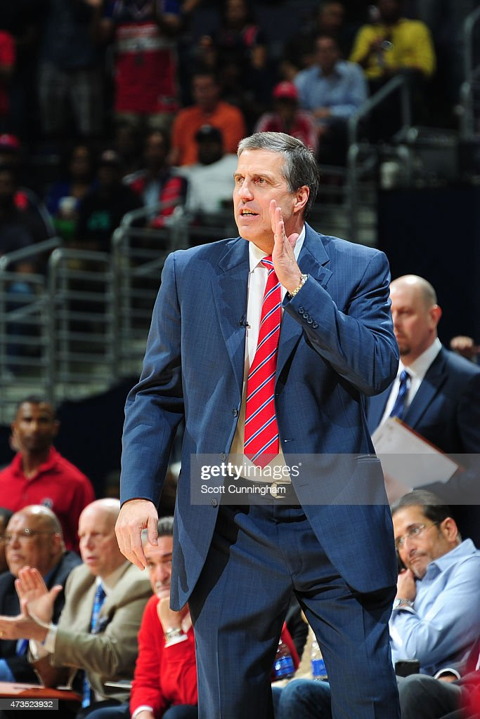 Head Coach Randy Wittman of the Washington Wizards calls a play against the Atlanta Hawks in Game Six of the Eastern Conference Semifinals during the...