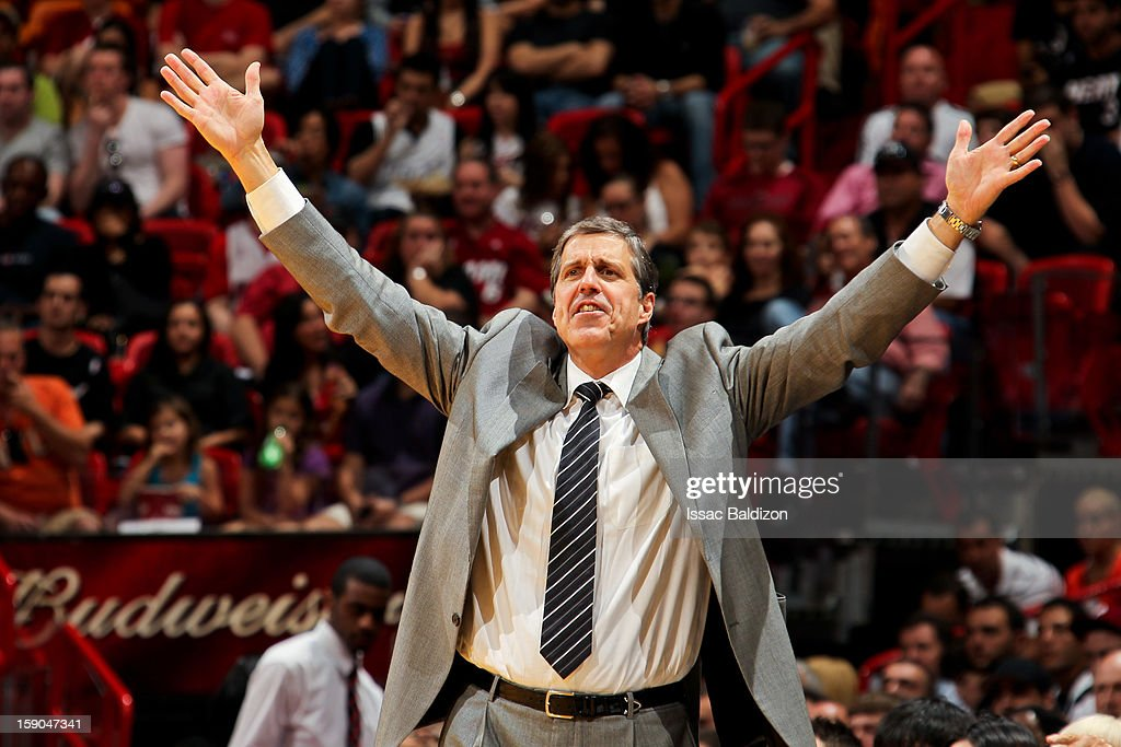 Head Coach Randy Wittman of the Washington Wizards directs his team against the Miami Heat on January 6, 2013 at American Airlines Arena in Miami, Florida.