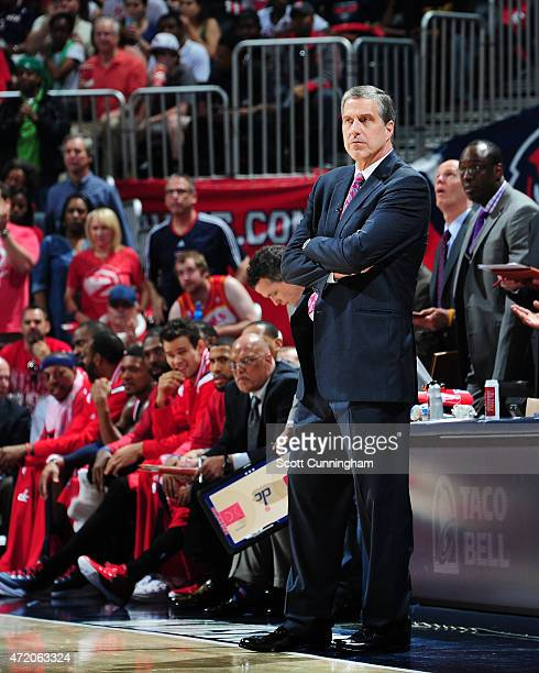 Head coach Randy Wittman of the Washington Wizards during Game One of the Eastern Conference Semifinals against the Atlanta Hawks during the NBA...