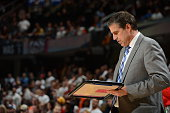 Head coach Randy Wittman of the Washington Wizards during the game against the Cleveland Cavaliers on April 15 2015 at Quicken Loans Arena in...