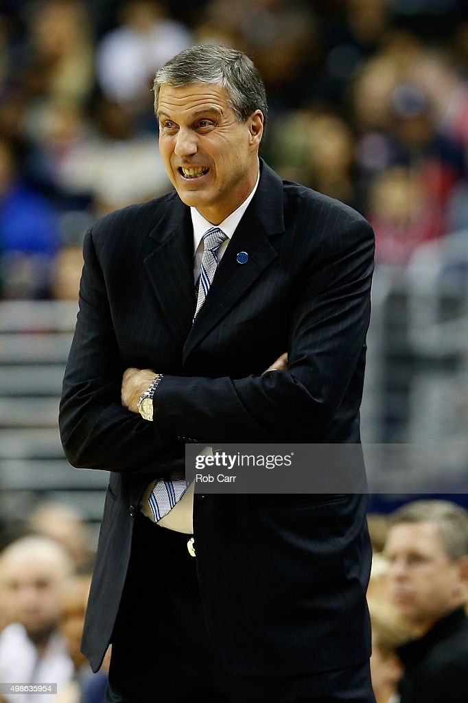 Head coach <a gi-track='captionPersonalityLinkClicked' href=/galleries/search?phrase=Randy+Wittman&family=editorial&specificpeople=679109 ng-click='$event.stopPropagation()'>Randy Wittman</a> of the Washington Wizards follows the game in the first half against the Indiana Pacers at Verizon Center on November 24, 2015 in Washington, DC.
