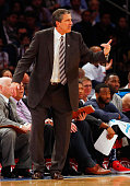 Head coach Randy Wittman of the Washington Wizards in action against the New York Knicks at Madison Square Garden on November 4 2014 in New York City...