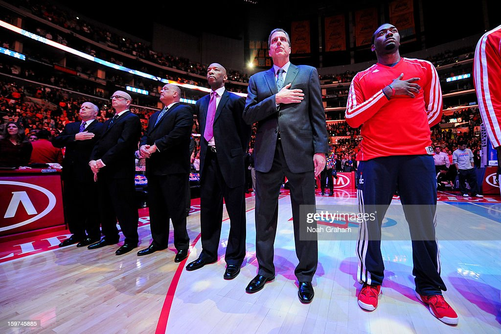 Head Coach Randy Wittman of the Washington Wizards listens to the National Anthem before a game against the Los Angeles Clippers at Staples Center on January 19, 2013 in Los Angeles, California.