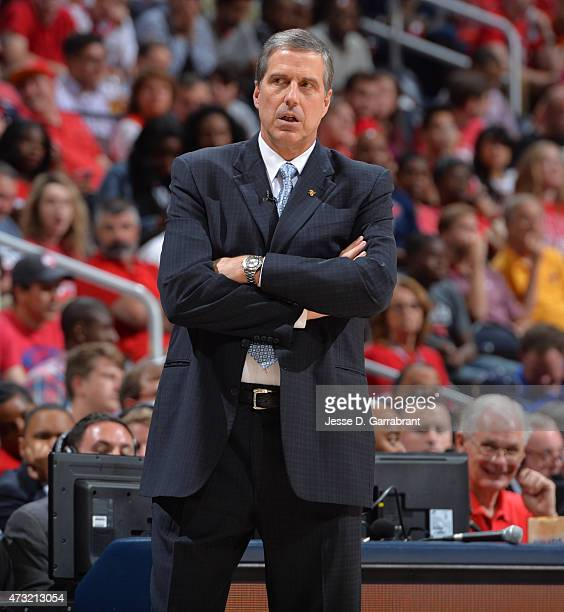 Head Coach Randy Wittman of the Washington Wizards looks on against the Atlanta Hawks in Game five of the Eastern Conference Semifinals of the NBA...