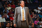 Head Coach Randy Wittman of the Washington Wizards looks on against the New York Knicks during a preseason game on October 9 2015 at Verizon Center...