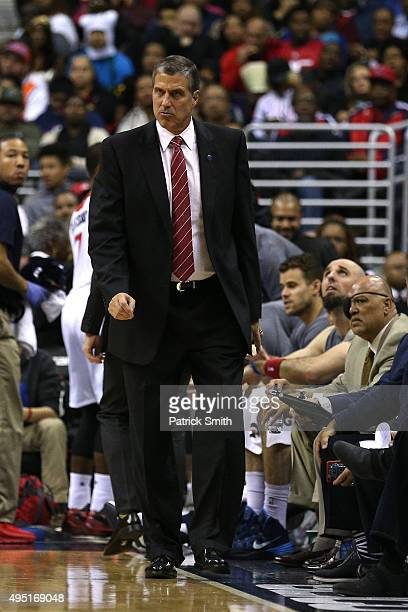 Head coach Randy Wittman of the Washington Wizards looks on against the New York Knicks during the first half at Verizon Center on October 31 2015 in...
