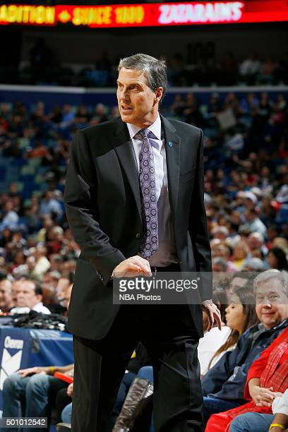 Head coach Randy Wittman of the Washington Wizards looks on against the New Orleans Pelicans on December 11 2015 at the Smoothie King Center in New...