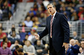 Head coach Randy Wittman of the Washington Wizards looks on against the Toronto Raptors in the first half at Verizon Center on January 8 2016 in...