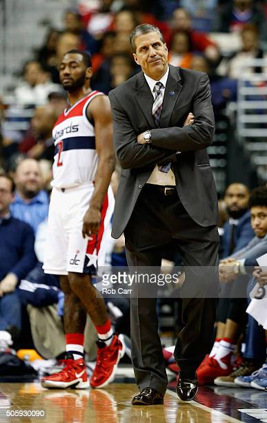 Head coach Randy Wittman of the Washington Wizards looks on against the Miami Heat in the first half at Verizon Center on January 20 2016 in...