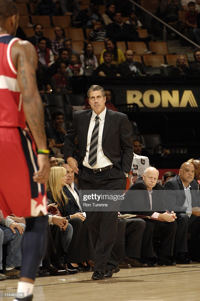 Head Coach <a gi-track='captionPersonalityLinkClicked' href=/galleries/search?phrase=Randy+Wittman&family=editorial&specificpeople=679109 ng-click='$event.stopPropagation()'>Randy Wittman</a> of the Washington Wizards looks on during a pre-season game against the Toronto Raptors on October 17, 2012 at the Air Canada Centre in Toronto, Ontario, Canada.