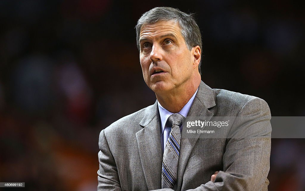 Head coach Randy Wittman of the Washington Wizards looks on during a game against the Miami Heat at American Airlines Arena on December 19 2014 in...